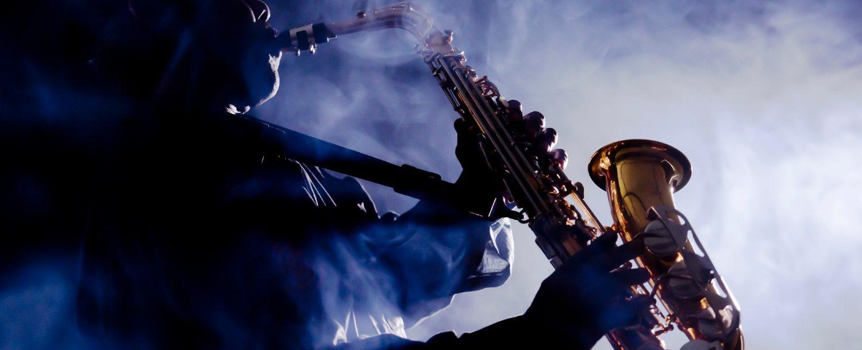 Jazz musician playing the saxophone at the kiawah island jazz festival