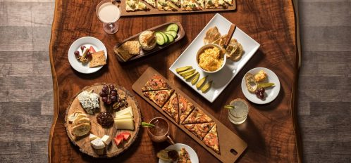 Display of assorted appetizer boards